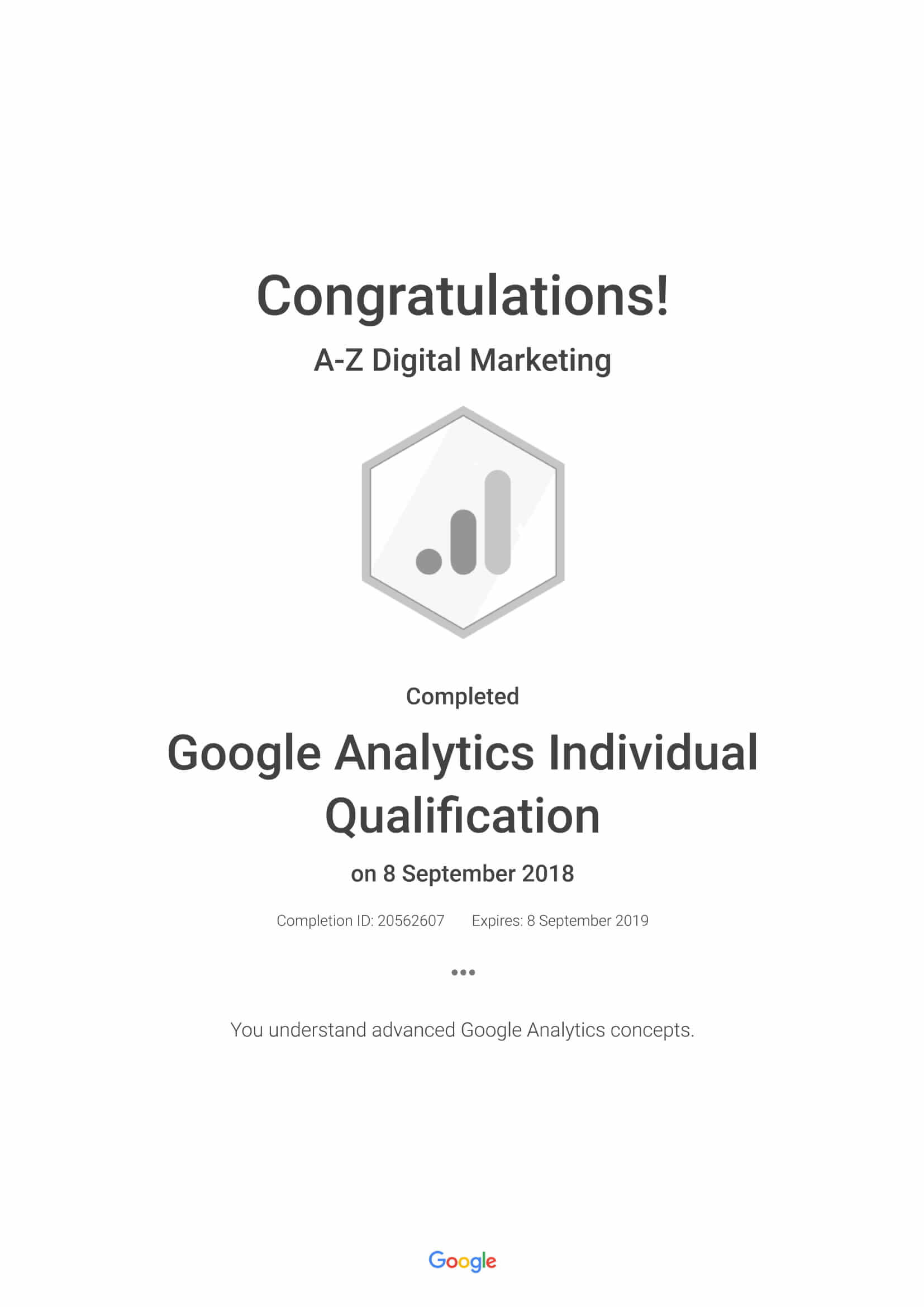 A-Z Digital Marketing Google Analytics Individual Certification